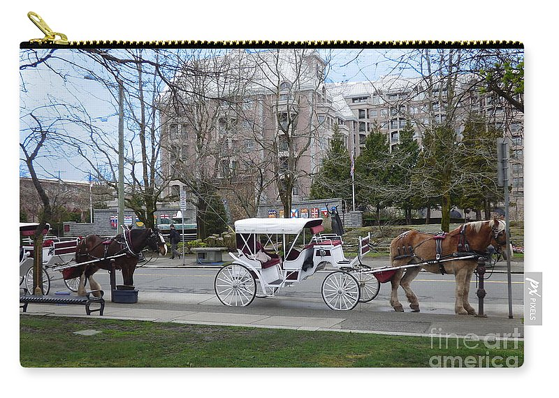 Victoria Carry-all Pouch featuring the photograph Victoria Horse Carriages by Charles Robinson