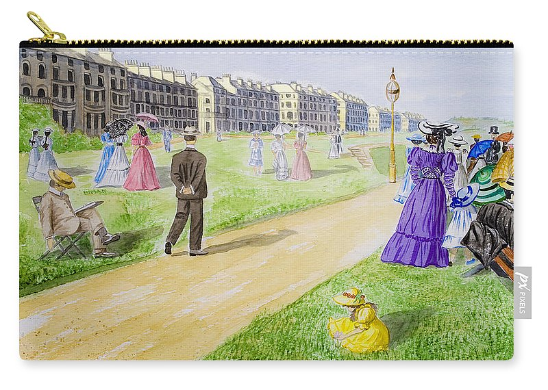 City; Medieval; Old; Street; Town; Traditional; Trees; Watercolor; Watercolour; People; Grass; Villa Carry-all Pouch featuring the painting Victorian Filey by Svetlana Sewell