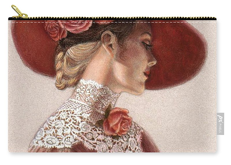 Victorian Lady Carry-all Pouch featuring the painting Victorian Lady in a Rose Hat by Sue Halstenberg