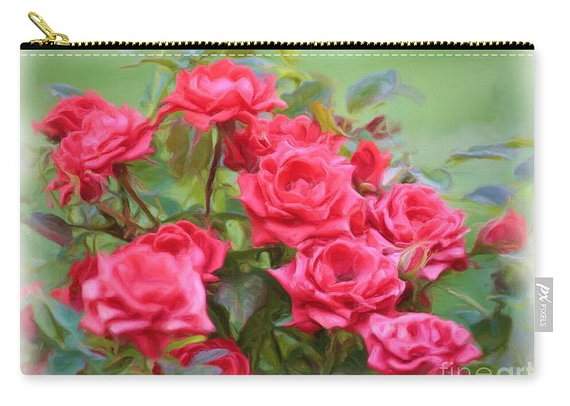 Floral Carry-all Pouch featuring the photograph Victorian Rose Garden - Digital Painting by Carol Groenen