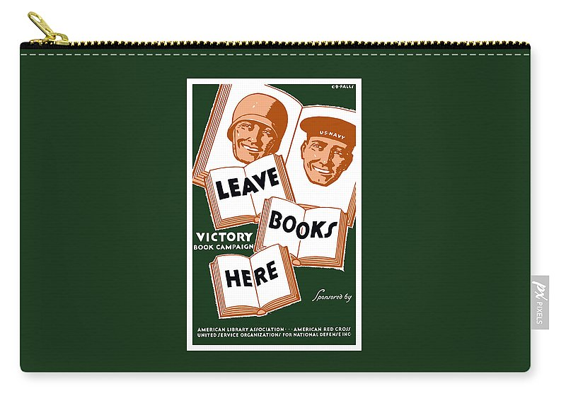 Wpa Carry-all Pouch featuring the mixed media Victory Book Campaign - Wpa by War Is Hell Store