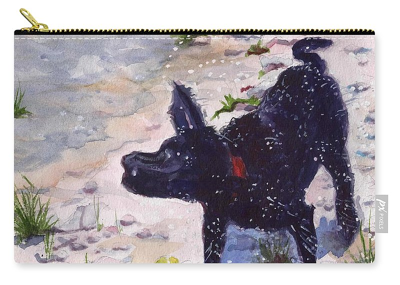 Black Lab Carry-all Pouch featuring the painting Victory Shake by Sheila Wedegis