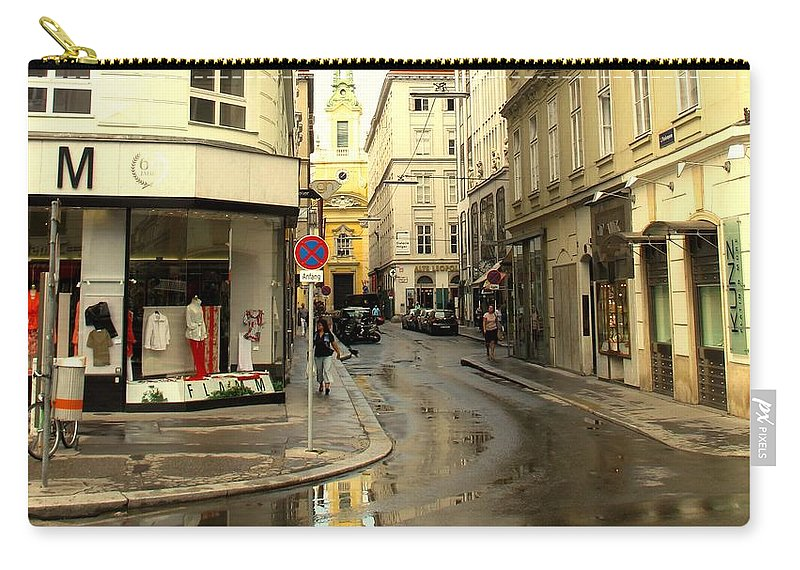 Vienna Carry-all Pouch featuring the photograph Vienna Corner After The Rain by Ian MacDonald