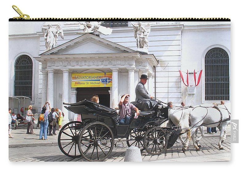Carriage Carry-all Pouch featuring the photograph Vienna Horse And Carriage by Ian MacDonald