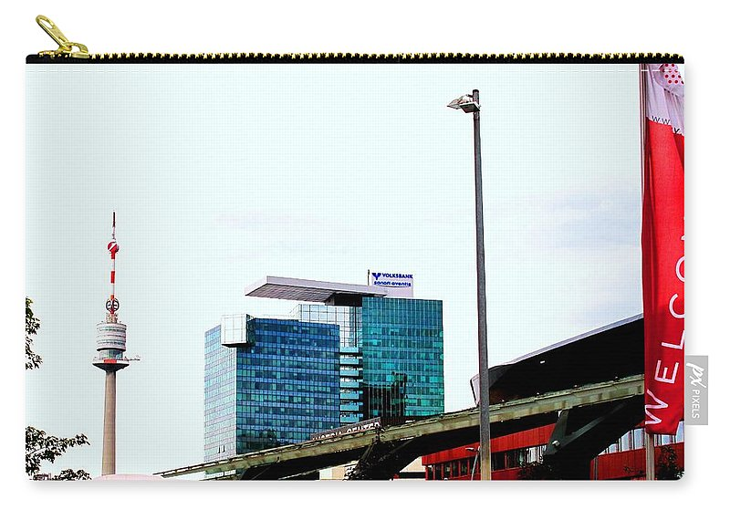 Vienna Carry-all Pouch featuring the photograph Vienna Volksbank by Ian MacDonald