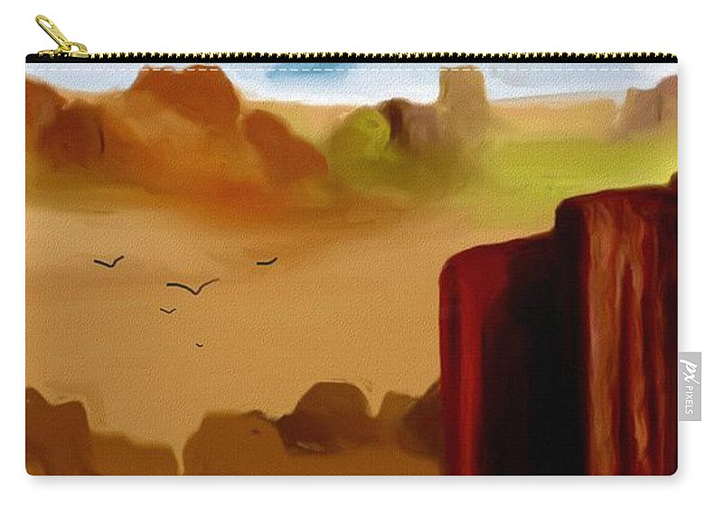 Digital Painting Carry-all Pouch featuring the digital art View From A Butte by David Lane