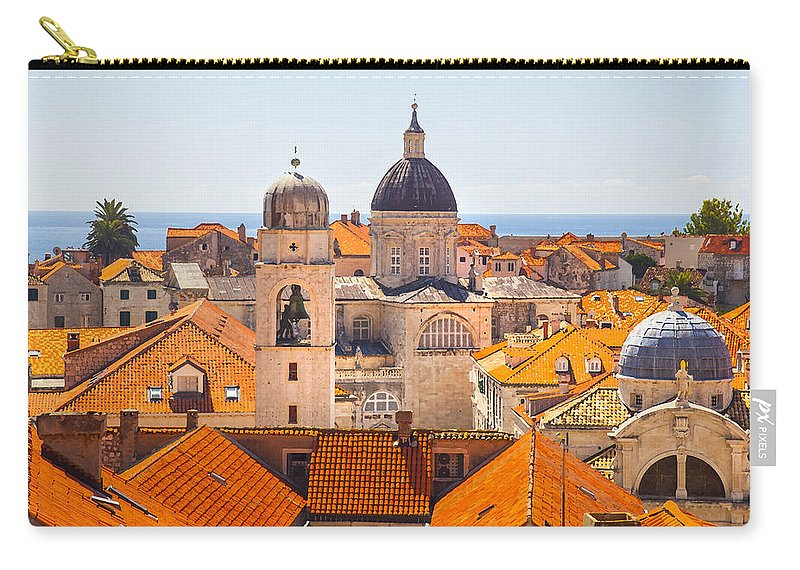 Adriatic Carry-all Pouch featuring the photograph View From Above Of Dubrovnik by Sandra Rugina