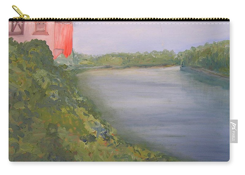 Landscape River Water Nature Carry-all Pouch featuring the painting View From Edmund Pettus Bridge by Patricia Caldwell