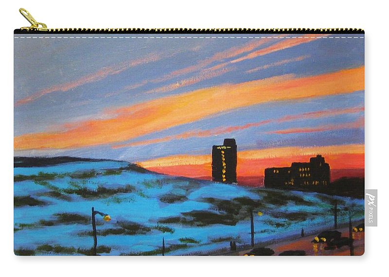 City At Night Carry-all Pouch featuring the painting View From My Balcony by John Malone
