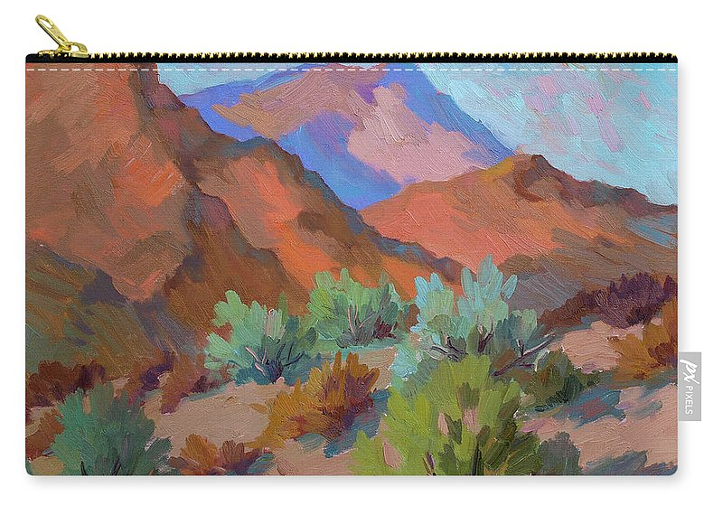 View From Visitor Center Carry-all Pouch featuring the painting View From Santa Rosa - San Jacinto Visitor Center by Diane McClary