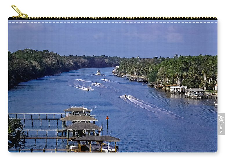 River Carry-all Pouch featuring the photograph View From The Bridge Of Lions by DigiArt Diaries by Vicky B Fuller