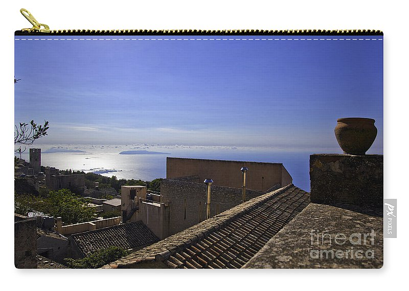 Rooftop Carry-all Pouch featuring the photograph View From The Top In Sicily by Madeline Ellis