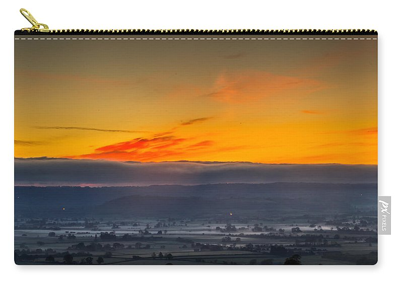 England Carry-all Pouch featuring the photograph View From The Top Of Glastonbury Tor At Sunrise by Jacek Wojnarowski