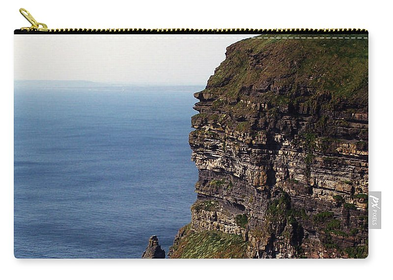 Irish Carry-all Pouch featuring the photograph View of Aran Islands and Cliffs of Moher County Clare Ireland by Teresa Mucha