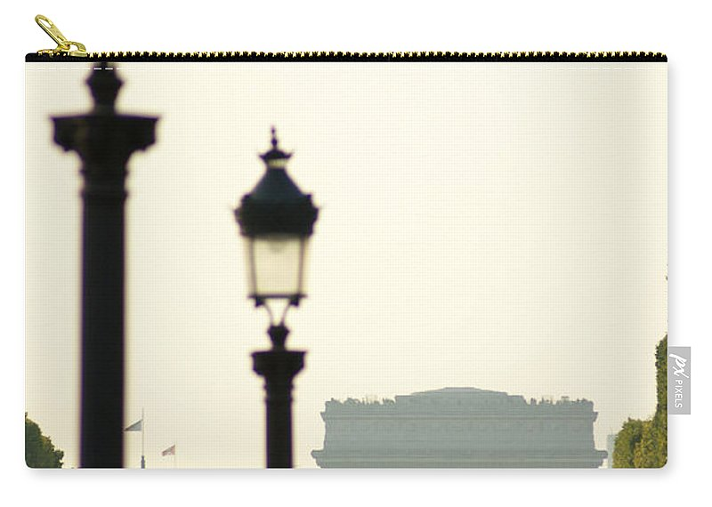 Paris Carry-all Pouch featuring the photograph View Of Arc De Triomphe by Christine Jepsen