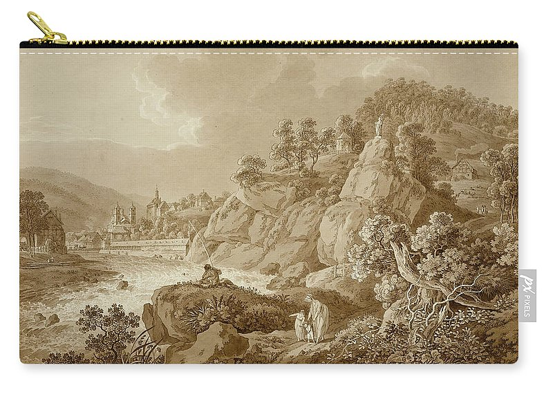 Adrian Zingg Carry-all Pouch featuring the drawing View Of Karlsbad In The Foreground A Young Mother With Her Children by Adrian Zingg