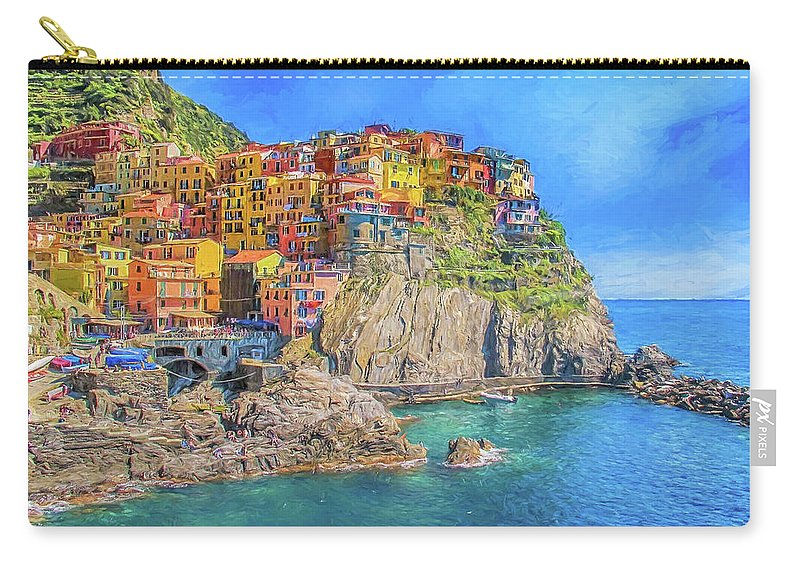 Cinque Terre Carry-all Pouch featuring the digital art View Of Manarola 2 by Roy Pedersen