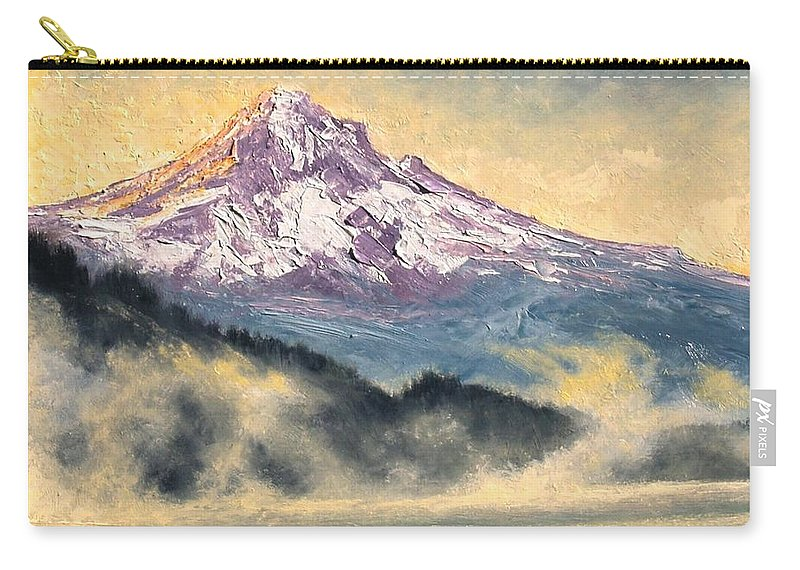 Lanscape Carry-all Pouch featuring the painting View of Mt Hood by Jim Gola