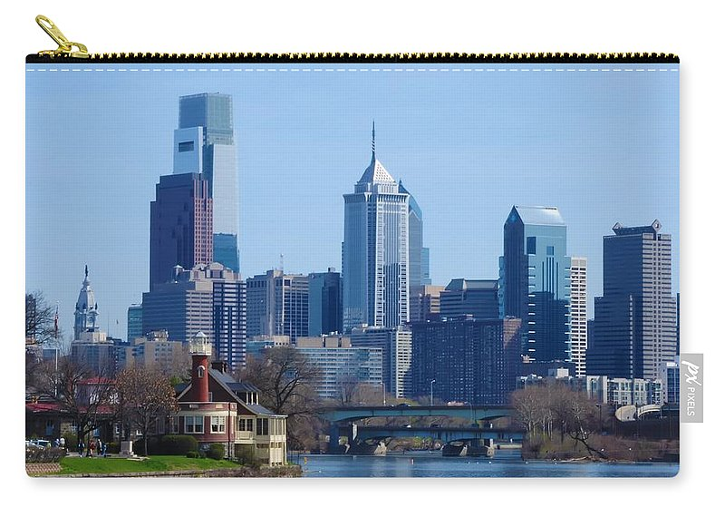 Phliadelphia Carry-all Pouch featuring the photograph View Of Phliadelphia From West River Drive. by Bill Cannon