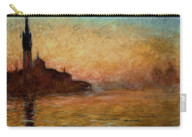 View Carry-all Pouch featuring the painting View Of San Giorgio Maggiore Venice By Twilight by Claude Monet