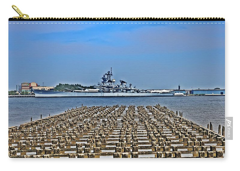 Battleship Carry-all Pouch featuring the photograph View Of The Battleship New Jersey From Philadelphia by Bill Cannon