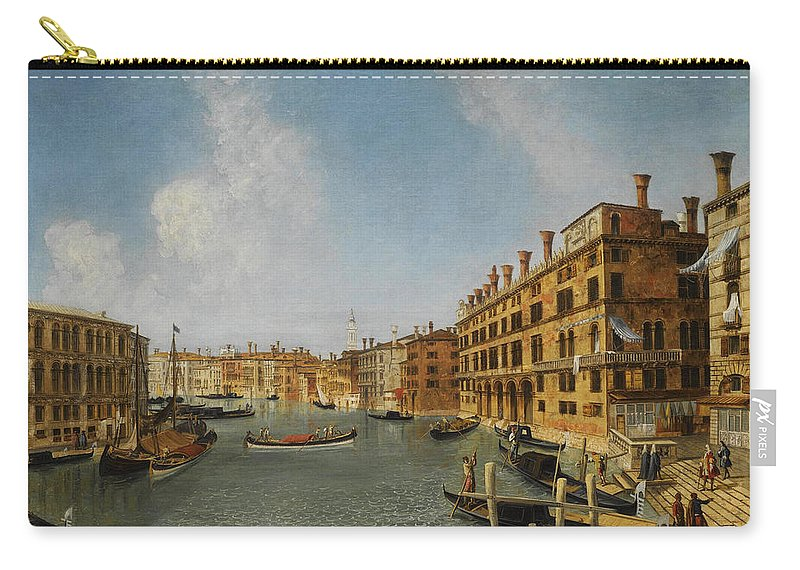 Michele Marieschi Carry-all Pouch featuring the painting View Of The Grand Canal Venice With The Fondaco Dei Tedeschi by Michele Marieschi