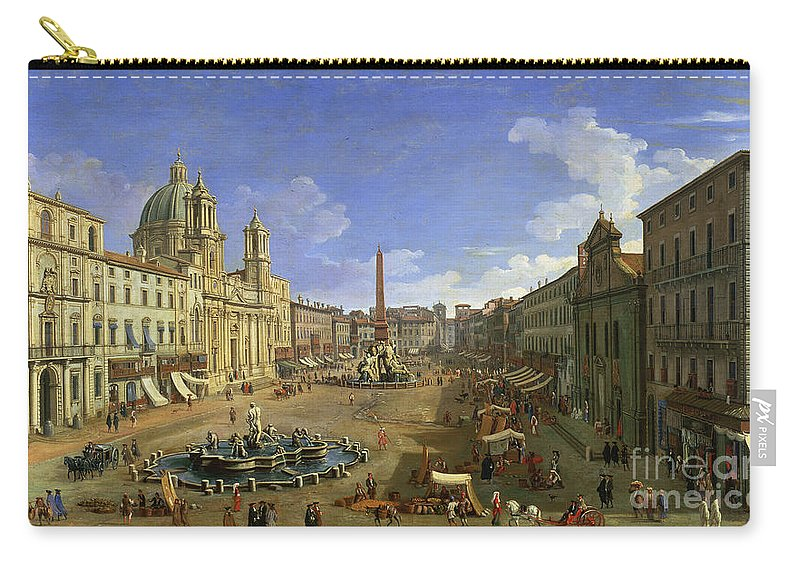 Rome Carry-all Pouch featuring the painting View Of The Piazza Navona by Canaletto