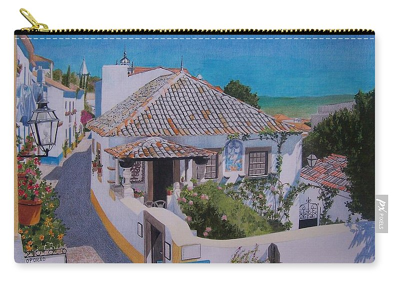 Green Carry-all Pouch featuring the mixed media View On Obidos by Constance Drescher