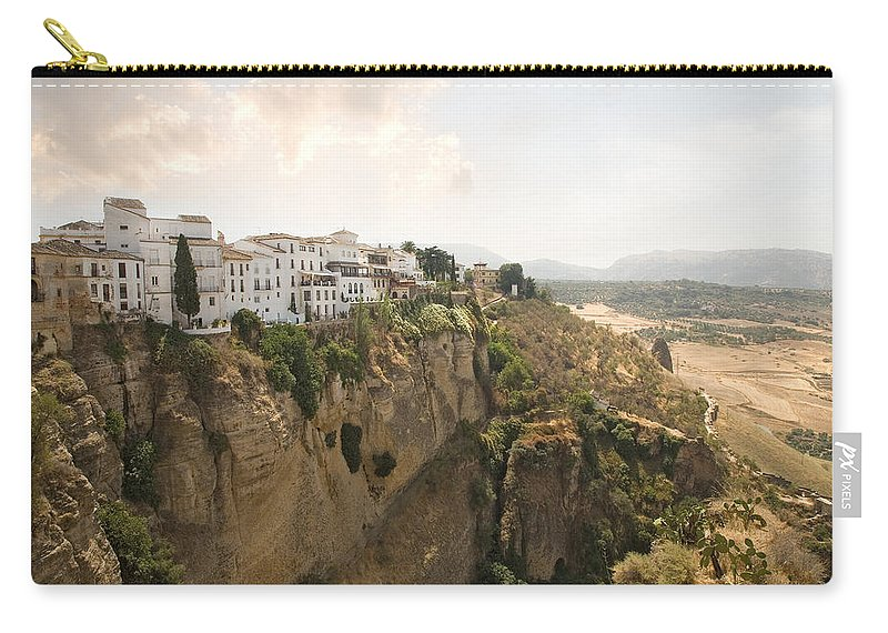 Ronda Carry-all Pouch featuring the photograph View Over The Tajo Gorge Ronda Home Of Bullfighting by Mal Bray