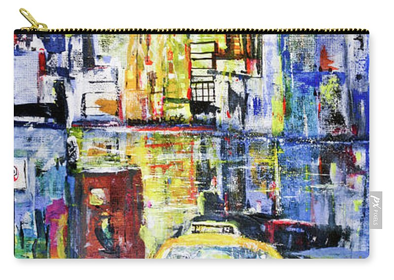 Taxi Carry-all Pouch featuring the painting View To Manhattan by Jack Diamond