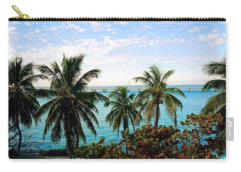 Tropical Carry-all Pouch featuring the photograph View To The 7 Mile Bridge by Susanne Van Hulst