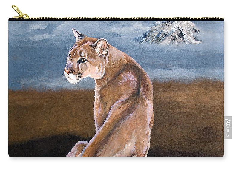 Indigenous Wildlife Carry-all Pouch featuring the painting Vigilance by J W Baker