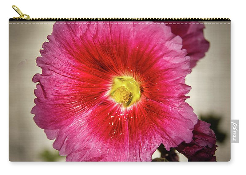 Alcea Rosea Carry-all Pouch featuring the photograph Vignetted Hollyhock by Robert Bales