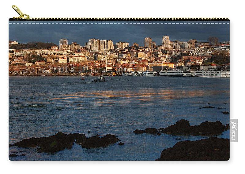 Vila Carry-all Pouch featuring the photograph Vila Nova De Gaia In Portugal At Sunset by Artur Bogacki