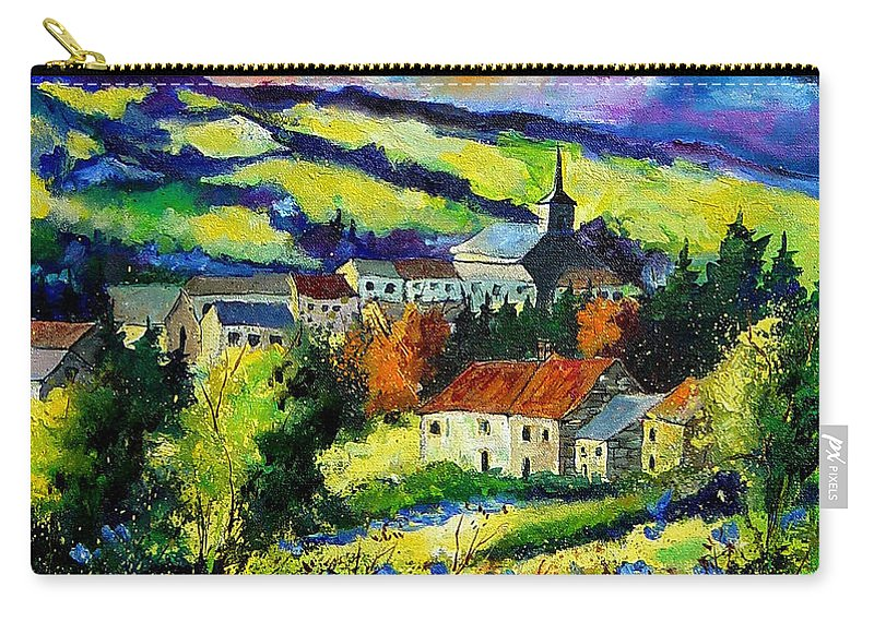 Landscape Carry-all Pouch featuring the painting Village And Blue Poppies by Pol Ledent