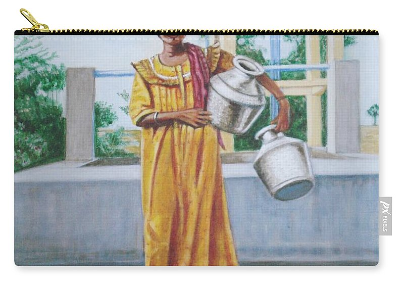 Usha Carry-all Pouch featuring the painting Village Belle by Usha Shantharam