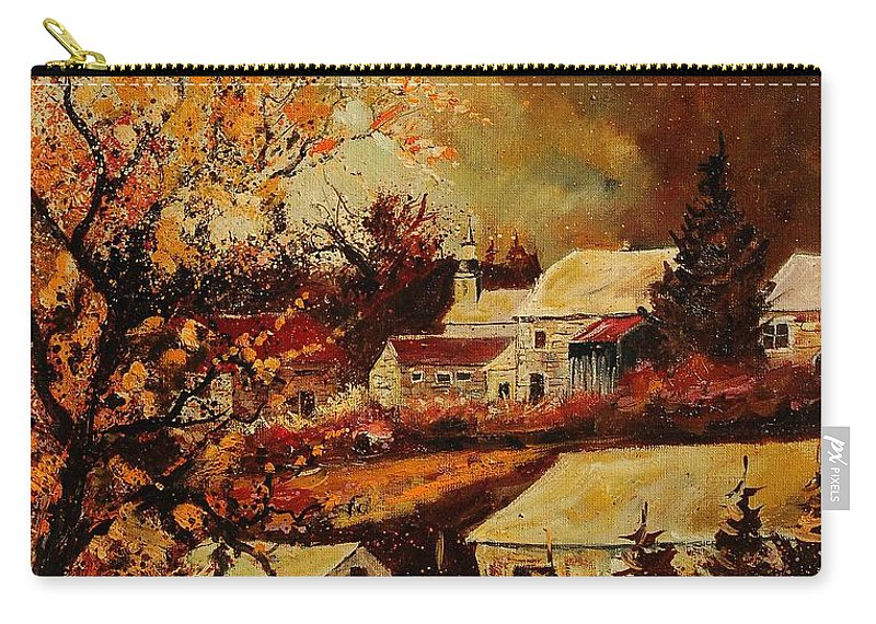 Tree Carry-all Pouch featuring the painting Village Curfoz by Pol Ledent