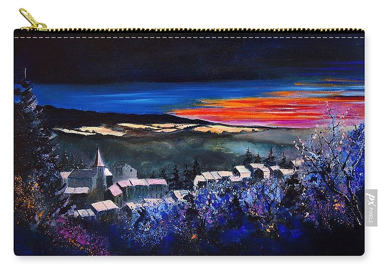 Landscape Carry-all Pouch featuring the painting Village In A Winter Morninglight by Pol Ledent