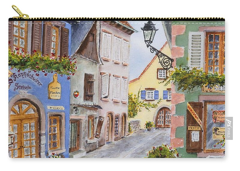 Village Carry-all Pouch featuring the painting Village In Alsace by Mary Ellen Mueller Legault