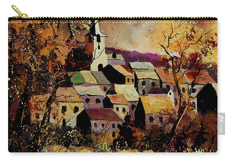 River Carry-all Pouch featuring the painting Village In Fall by Pol Ledent