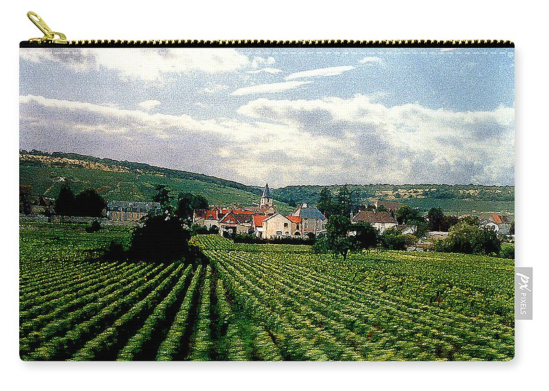 Vineyards Carry-all Pouch featuring the photograph Village In The Vineyards of France by Nancy Mueller