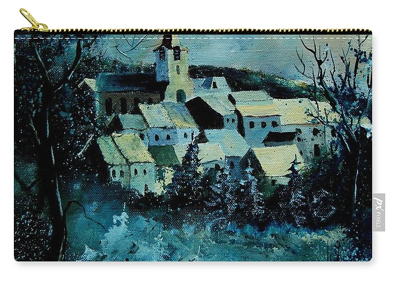 River Carry-all Pouch featuring the painting Village In Winter by Pol Ledent