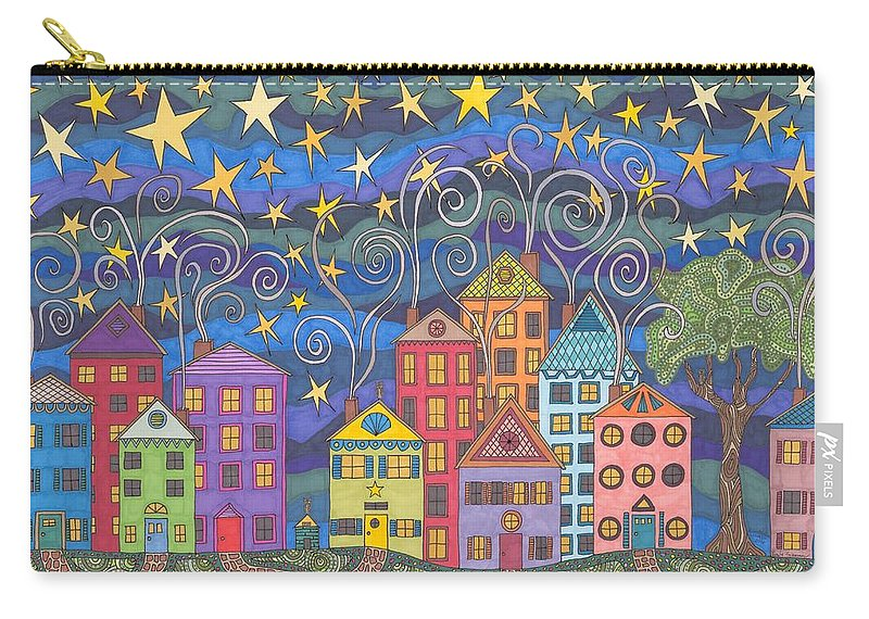 Village Carry-all Pouch featuring the drawing Village Lights by Pamela Schiermeyer