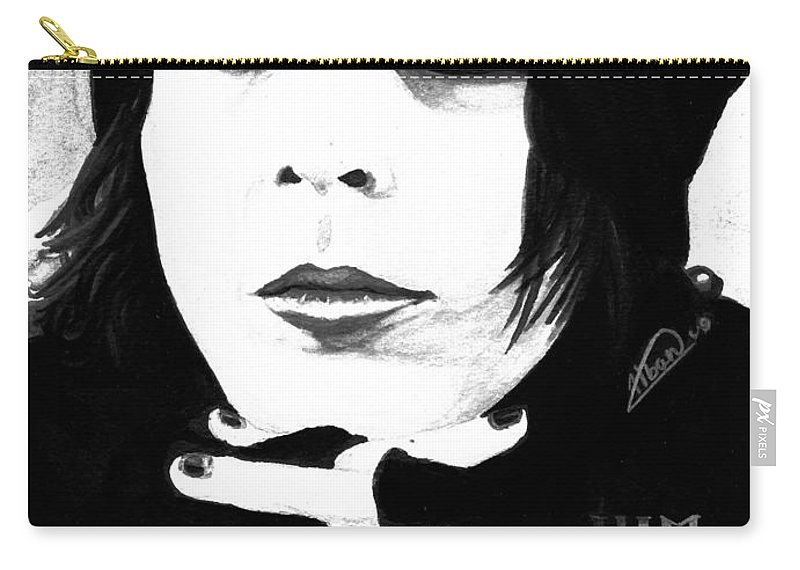 Ville Valo Carry-all Pouch featuring the painting Ville Valo Portrait by Alban Dizdari
