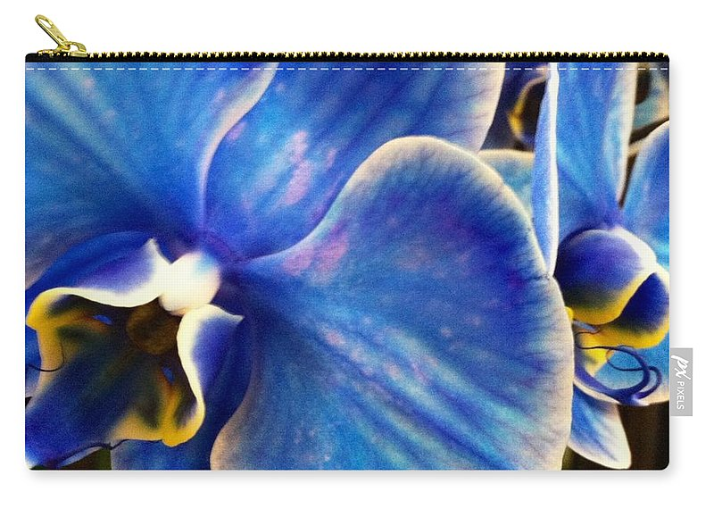 Close Up Bright Blue Orchid Carry-all Pouch featuring the photograph Vincent's Orchid by Meghan Gallagher