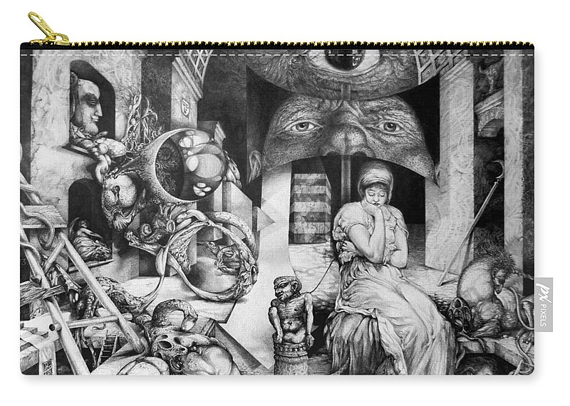 Surrealism Carry-all Pouch featuring the drawing Vindobona Altarpiece IIi - Snakes And Ladders by Otto Rapp