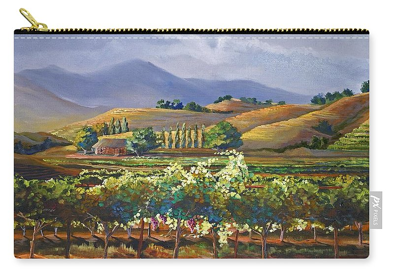 Vineyard Carry-all Pouch featuring the painting Vineyard In California by Heather Coen