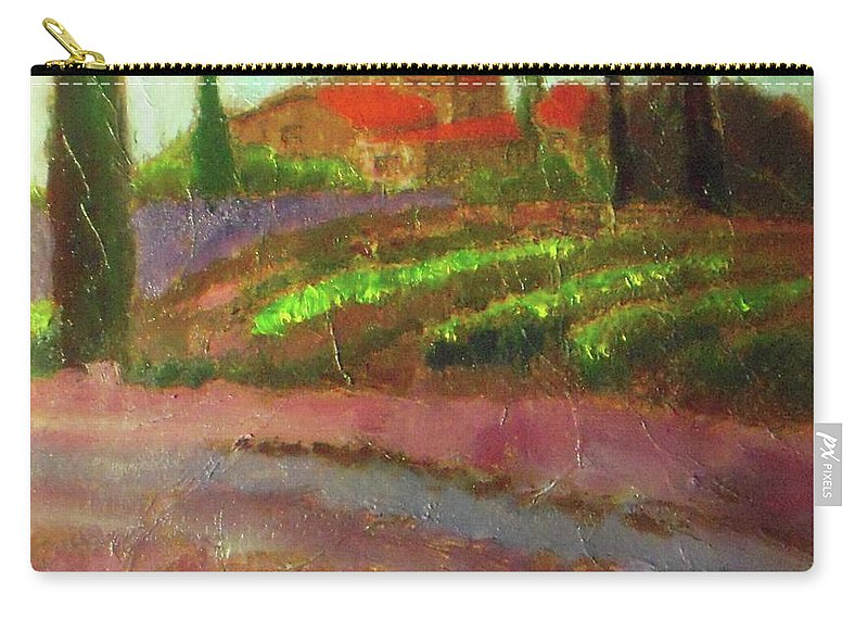 Landscape Carry-all Pouch featuring the painting Tuscany Vineyard by Vesna Antic
