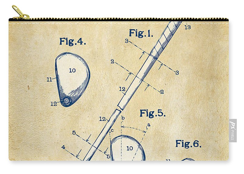 Golf Carry-all Pouch featuring the digital art Vintage 1910 Golf Club Patent Artwork by Nikki Marie Smith