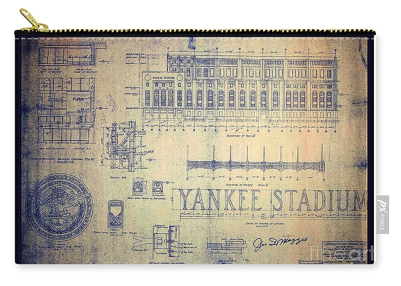 Vintage 1920s art deco yankee stadium blueprint autographed by joe peter g ogden carry all pouch featuring the drawing vintage 1920s art deco yankee stadium malvernweather Gallery